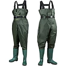 PLUSINNO Chest Waders, 2-Ply Nylon/PVC Waterproof Cleated Fishing & Hunting Bootfoot Wader for Men and Women