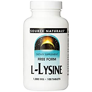 Source Naturals L Lysine Essential Free Form Amino Acid 1000mg 100 Tablets (Pack of 3)