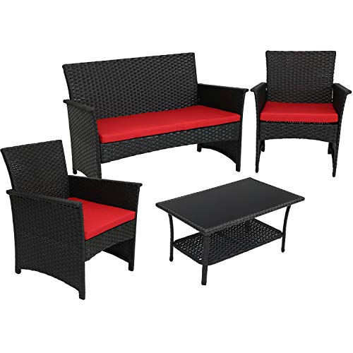 Sunnydaze Arklow 4-Piece Outdoor Patio Furniture Set with Red Cushions, Black Rattan Balcony & Porch Conversation Seating