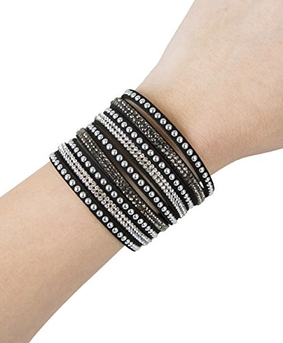 UPC 743724513257, Fashion Bracelet for FitBit, Avia, or Misfit Activity Tracker - The TINLEY Studded Snap Bracelet in Black - Size XS/S - Activity Tracker Not Included