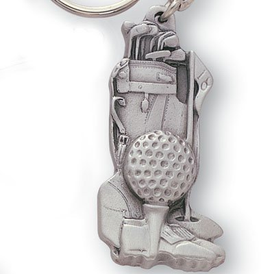 Pewter Golf Bag Chain / Keychain / Metal Golfing Key (Silver Golf Club Key Ring)