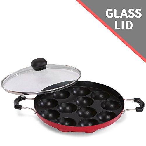 Appam Patra Paniyaram Non Stick Pan with See Through Glass Lid, Or Takoyaki or Danish Aebleskiver Filled Pancake Pastry Pan