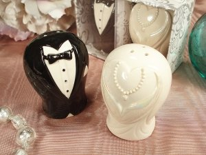 Adorable Salt & Pepper Shaker Wedding Favors: Bridal Couple, 27