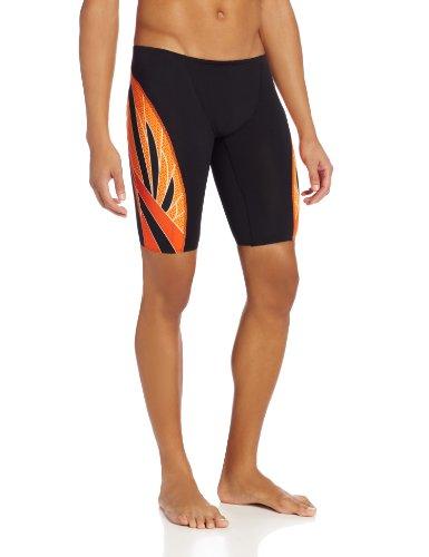 TYR  Men's Phoenix Splice Jammer Swimsuit (Black/Orange, 26)
