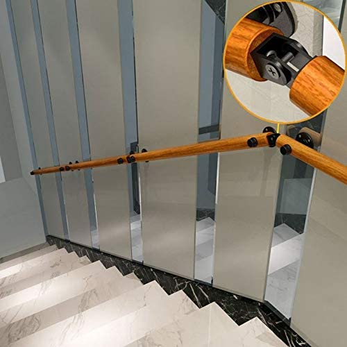 Barrier-Free Staircase Grab Bar for Elderly Wall Mounted Home Garden Corridor Lofts Decking Railings Anti Skid Pine Handrails Complete Kit Non-Slip Wood Handrails for Indoor Stairs 2.6ft