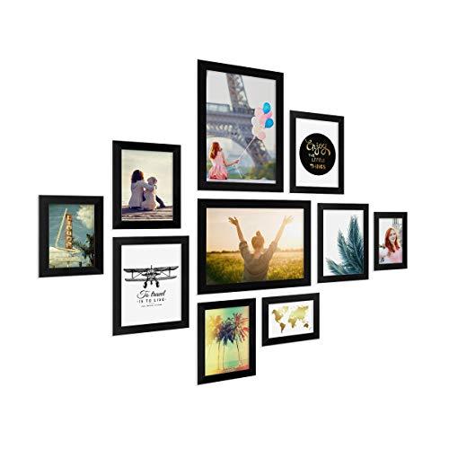 Photolini Juego de 10 Marcos Basic Collection Modernos, Negros de MDF, Incluyendo Accesorios/Collage de Fotos/galeria de imagenes