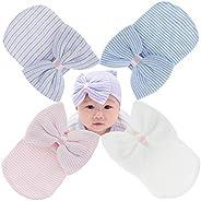 Newborn Baby Girl Hospital Hat with Bow Infant Baby Boy Nursery Beanie Hats Pompom Soft No Scratch Mittens for