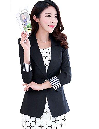 My Wonderful World Women's One Button Slim Work Blazer Suit XXX-Large Black (Snow White Outfit Ideas)