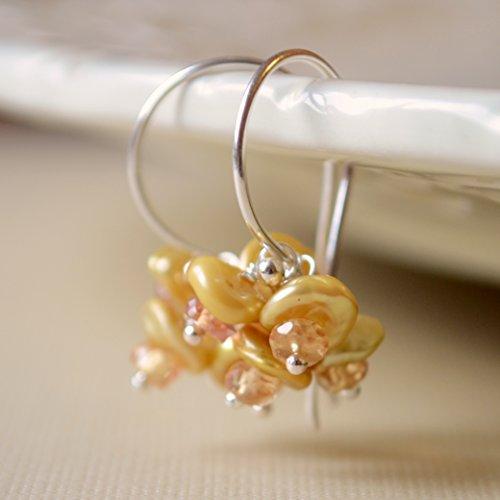 (Gold Keishi Pearl Earrings in Sterling Silver)