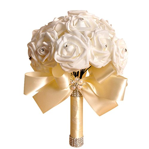 Elevin(TM) Bridesmaid Wedding Flowers Bouquet Bridal Artificial Fake Silk Flowers Crystal Roses Party Home Decor (Beige)]()