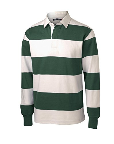 Sport-Tek Men's Long Sleeve Rugby Polo L Forest Green/ White