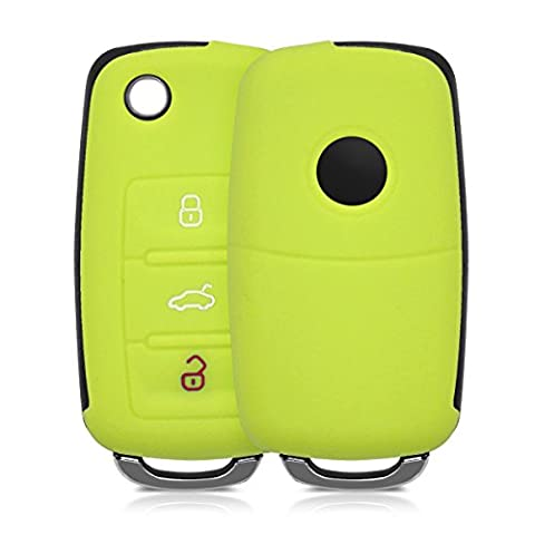 kwmobile Silicone cover for VW Skoda Seat 3-Button Car Key Key Protection cover Etui Key Case Cover in light green