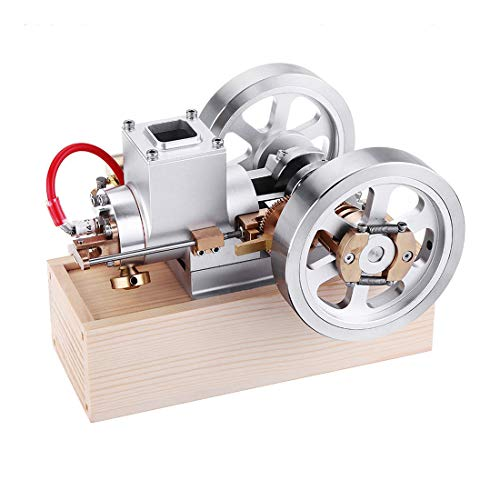 Yamix Stirling Engine Motor Model Metal Horizontal Hit and Miss Engine Gas Engine Model Combustion Engine with Hand Start Device STEM Educational Toy