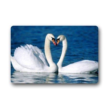 TSlook Fashions Doormat Swans Couple Love Heart Lake Indoor/Outdoor/Front Welcome Door Mat(23.6