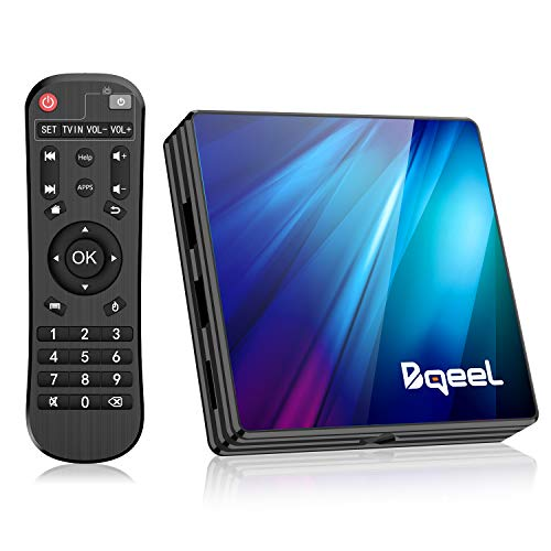 Bqeel Android TV Box 9.0 4GB RAM 64GB ROM, R1 Plus Android Box RK3318 Quad-Core 64bits Dual-Band WiFi 2.4G/5G BT 4.0 3D 4K Ultra HD HDMI 2.0 H.265 USB 3.0 Smart TV Box