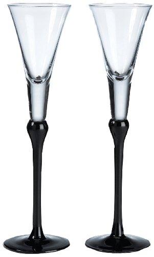 Lillian Rose Toasting Glasses (Lillian Rose Black Wedding Toasting Flutes Table Decor)