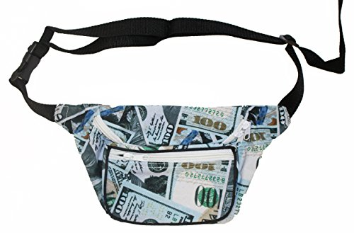 Bam Products Fun Pattern Fashion Fanny Pack Waist Bag (Hundred Dollar Bill) (What Do You Want On Your Pizza)