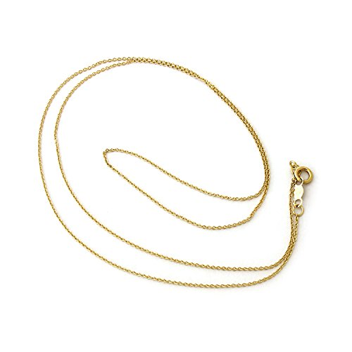 15 Inch Cable Chain (14k Yellow Gold 0.8mm Round Rolo Cable Chain 15