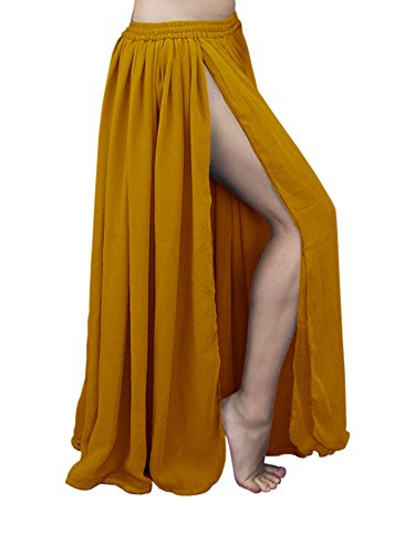 432c04e38e Indian Trendy Women Maxi Chiffon Double Layer 2 Side Slit Skirt Belly Dance  Tribal Panel Jupe