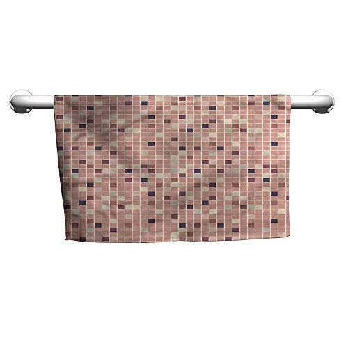(flybeek Square Towel Dusty Rose,Square Shapes Mosaic,Outside Towel Rack for)