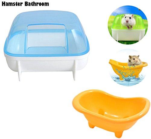 (Fashionclubs 2pcs/set Hamster Bathroom Bath Sand Bath Room Sauna Toilet Bathtub Critter Bath,Random Color)