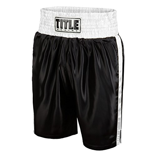 (TITLE Edge Boxing Trunks, Black/White, Medium )