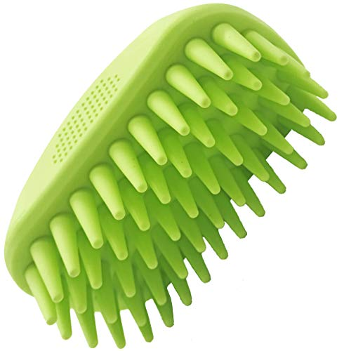 Dasksha Pet Bath Brush for Dogs and Cats - Top Holiday Pet Deals - Green - Best Rubber Dog Bath Brush and Cat Bath Brush for Grooming - Use Wet or Dry