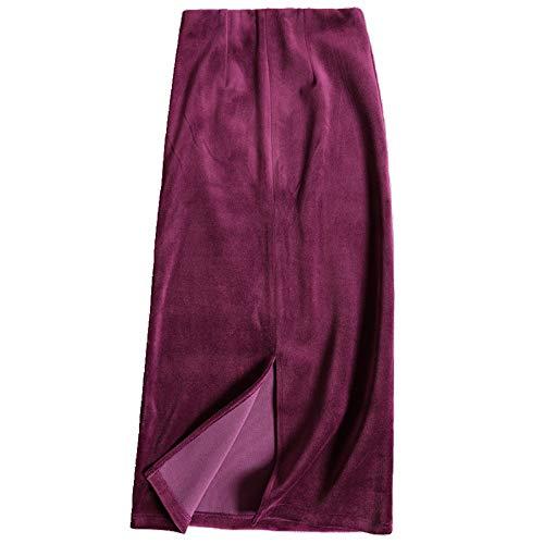 Terciopelo Cintura De Vino Rojo Split Falda Wsad Otoño Invierno Antigua Nalgas qPEAWF1tw