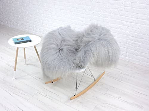Unitedbargains Genuine Icelandic Single Sheepskin Rug Dyed Silver Grey 550