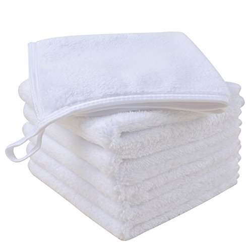 Sinland Microfiber Face Cloths For Bath Reusable Makeup Remover Cloth Ultra Soft and Absorbent Washcloths For Baby 12Inch x 12Inch White 6 Pack by Sinland