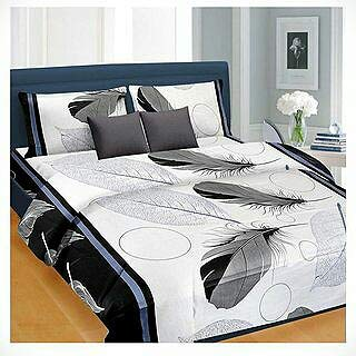 Choice homes Polycotton 3D Double Bedsheet with 2 Pillow Covers Combo (Standard, Grey)