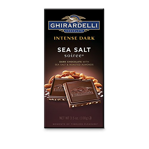 Ghirardelli, Dark Chocolate Sea Salt Roasted Almond Bar, 3.5 oz