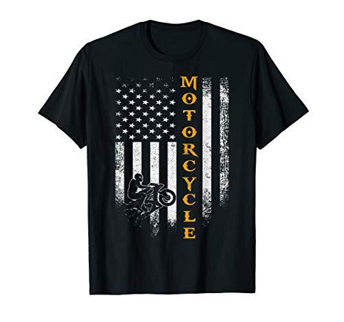 Vintage USA Motorcycle American Flag Biker Patriotic Funny T-Shirt