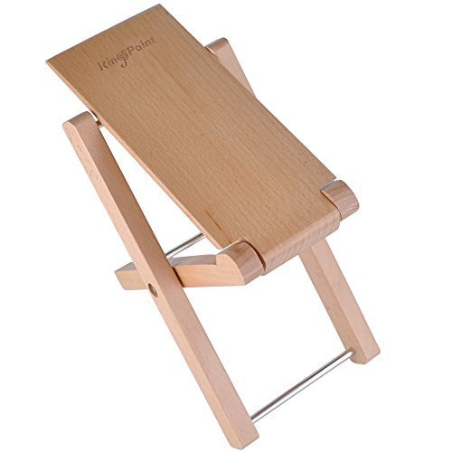 KingPoint Solid Beech Wood Guitar Footstool 4 Adjusatble Height ()