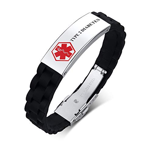 PJ Jewelry Personalized Engraved Silicone Adjustable Medical Alert Bracelet Rubber Emergency Sport ID Wristband for - Bag T2 Cart