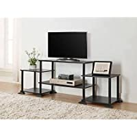Multiple Shelves Mainstays No Tools 3-Cube Storage Entertainment Center for TVs up to 40 (Black Oak)