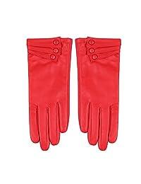 Women Leather Gloves - Nappaglo Warm Lining Winter Leather Lambskin Gloves