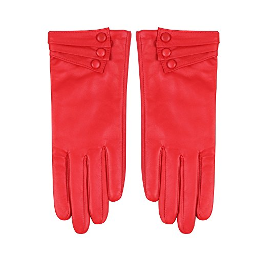 Nappaglo Nappa Leather Gloves Warm Lining Winter Button Decoration Imported Leather Lambskin Gloves for Women (M, Red)