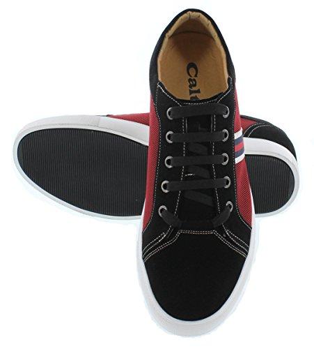 Calto J9101-2,4 Pollici Taller - Scarpe Rialzanti Per Altezza - Sneakers Stringate Nere E Metalliche Rosse