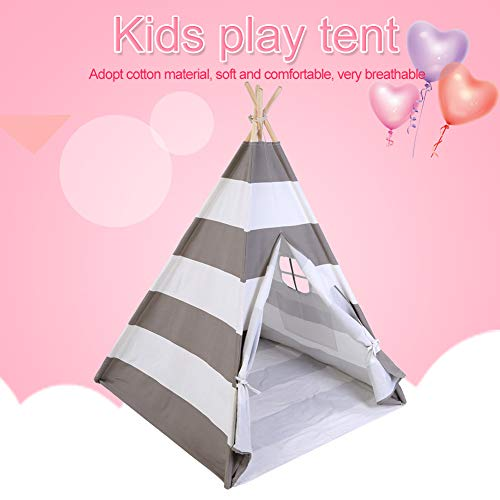 Classic Playhouse (Wal front Kids Teepee Tent, Children Classic Indian Play Game Playhouse Tent Portable Outdoor Play House (Gray))