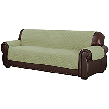 Duck River Textiles Reynold Reversible Water Resistant Sofa Cover In Sage/Chocolate (with Pockets!), Geometric