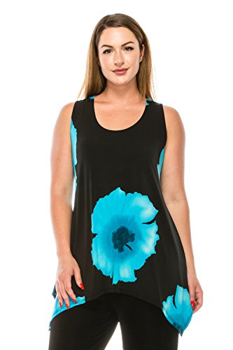 Turquoise Slinky - Jostar HIT Side Drop Tank Tunic with Print in Flower Design Turquoise Color in Large Size