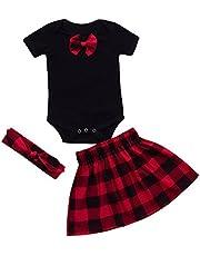 K-youth Vestido Bebe Niñas, Ropa Bebe Niña Recien Nacido Bebé Tops y Falda a Cuadros y Banda de Pelo Ropa para 0-24 Meses 3 Piezas