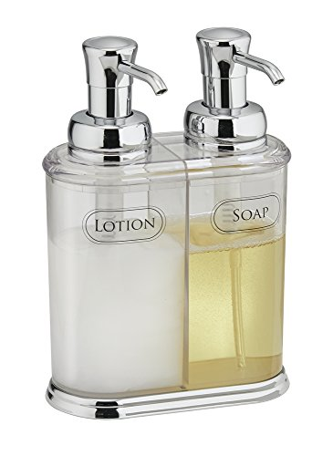mDesign Double Soap and Lotion Dispenser Pump, for Kitchen or (Lotion Dispenser)