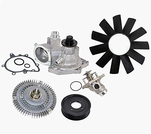 Water Pump Thermostat Fan Clutch Fan Blade Pulley Kit for BMW 540i 740i 740iL Premium 11510393336/11531436386 /11527502804/11521712110/ 11511742045 (5pcs)