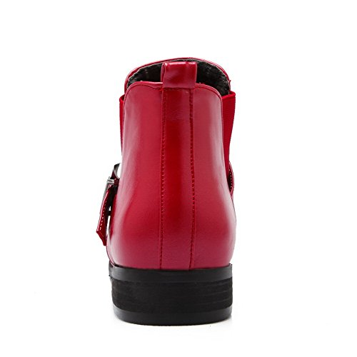 Ankle Pull WeenFashion on Low Boots Closed Red high PU Heels Round Toe Women's qzCCB