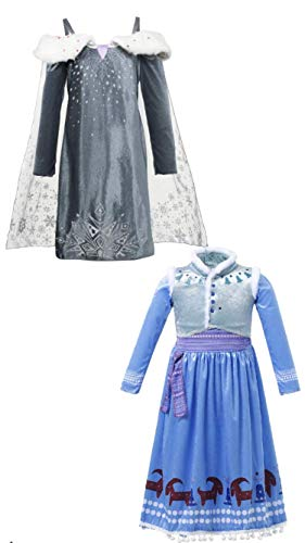 FashionModa4U Frozen Adventure Girls Costume Dress Elsa&Anna, 4.]()