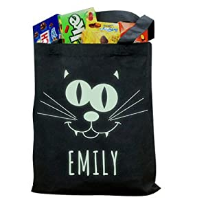 GiftsForYouNow Glow In The Dark Personalized Halloween Trick or Treat Bag