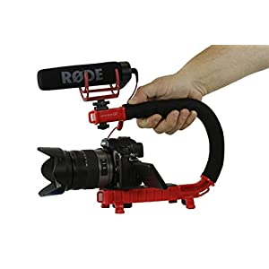 Cam Caddie Scorpion Jr Stabilizing Camera Handle for DSLR and GoPro Action Cameras - Professional Handheld U/C-Shaped Grip with Integrated Accessory Shoe Mount for Microphone or LED Video Light - Includes: Smartphone / GoPro Adapters and 1/4-20 Threaded Mounting Knob - Red
