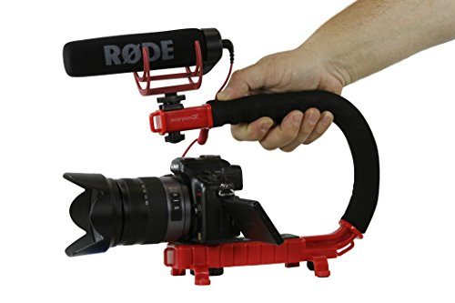 Cam Caddie Scorpion Jr Stabilizing Camera Handle for DSLR and GoPro Action Cameras - Professional Handheld U/C-Shaped Grip with Integrated Accessory Shoe Mount for Microphone or LED Video Light - Incl